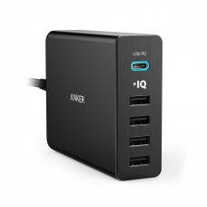 Anker PowerPort+ 5 Port USB With USB-C 60W Charger Adapter (A2053)
