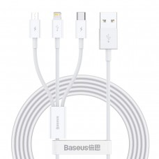 Baseus Superior Series 3-in-1 Fast Charging Data Cable White