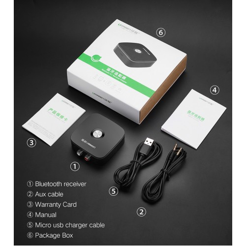 UGREEN 30445 Wireless Bluetooth Audio Receiver 4.1 with 3.5mm and 2RCA Adapter