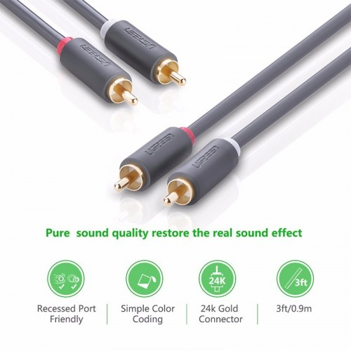 Ugreen 10519 2RCA male to 2RCA male stereo audio video cable 3M