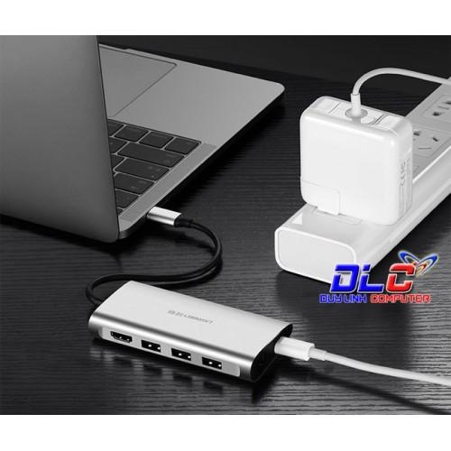 Ugreen USB-C to 3*USB3.0+HDMI+RJ45+SD&TF converter sliver