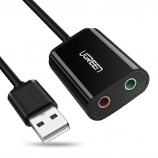 Ugreen USB Audio Adapter External Stereo Sound Card With 3.5mm Headphone And Microphone Jack