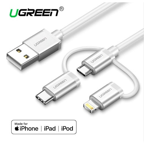 UGreen USB 2.0 to Micro USB+Lightning+Type C (3 in 1) Data Cable with Braid Sliver 1M