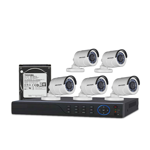 HIKVISION 5 unit 720P night vision security cc camera Package
