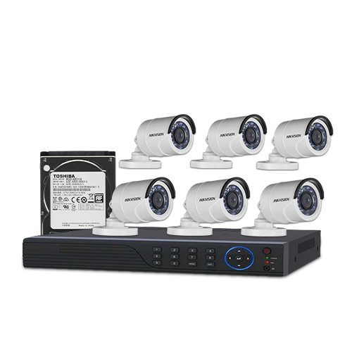 HIKVISION 6 unit 720P night vision security cc camera Package