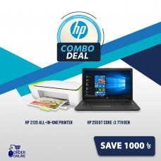"HP 250 G7 Core i3 7th Gen 15.6"" HD Laptop and HP DeskJet Ink Advantage 2135 All-in-One Color Printer Combo"