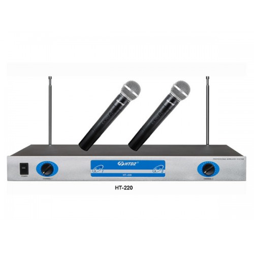 HTDZ HT-220 Wireless Microphone Set (Dual) With Amplifier