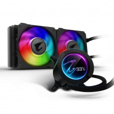 Gigabyte AORUS RGB AIO Liquid Cooler 240 with Circular LCD Display, Dual 120mm ARGB Fans