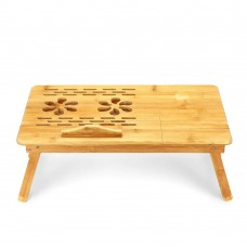 Bamboo Wooden Dual Fan Laptop Cooler Table Desk