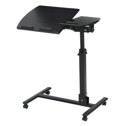 Rolling Laptop Table with Wheels Adjustable Folding Computer Desk Stand