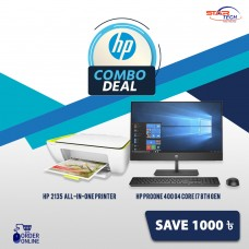 HP ProOne 400 G4 Core i7 8th Gen 23.8 Inch Full HD WLED-backlit Anti-glare All in One PC and HP DeskJet Ink Advantage 2135 All-in-One Color Printer Combo