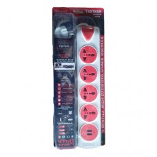 Huntkey 6 Port Diamond Power Strip White & Red