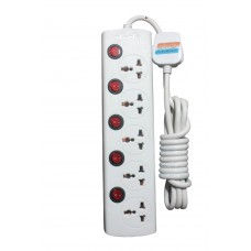 Nano MBS-405 5 Port 3 Pin Power Strip White
